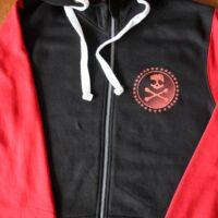 Asta Kask – Rough Red Skull/Logo (Black/Red, Baseball Zip Hood)